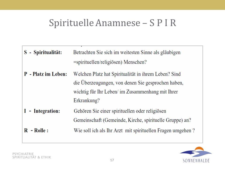 17 Spirituelle Anamnese – S P I R