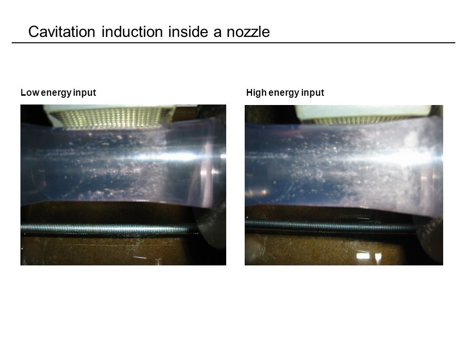 Cavitation induction inside a nozzle Low energy inputHigh energy input