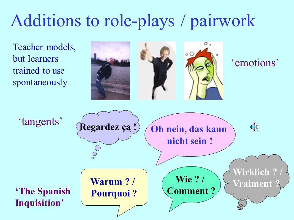 Additions to role-plays / pairwork 'emotions' 'tangents' Regardez ça .