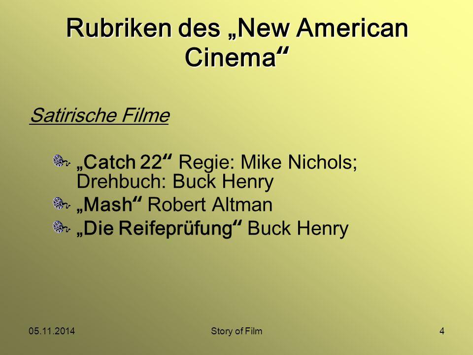 """05.11.2014Story of Film4 Satirische Filme """"Catch 22 Regie: Mike Nichols; Drehbuch: Buck Henry """"Mash Robert Altman """"Die Reifeprüfung Buck Henry Rubriken des """"New American Cinema"""