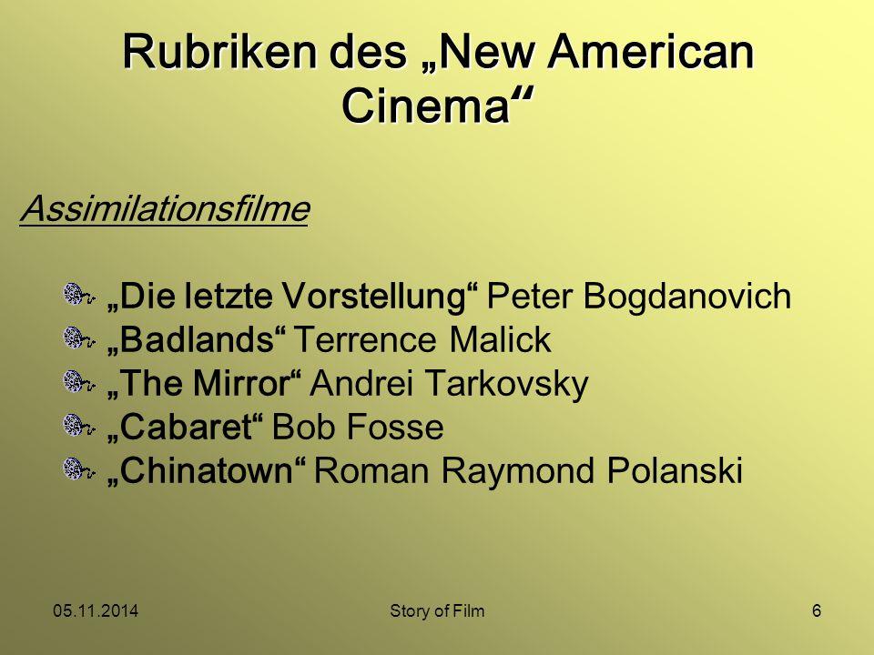 """05.11.2014Story of Film7 Nachdem die Budgets nach den Erfolgen von Filmen wie Coppolas """"Der Pate oder Scorseses """"Taxi Driver immer größer wurden, fand das New American Cinema mit Werken wie """"Heaven's Gate oder """"Apocalypse Now sein Ende."""