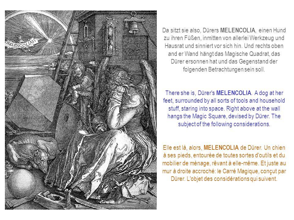Da sitzt sie also, Dürers MELENCOLIA, einen Hund zu ihren Füßen, inmitten von allerlei Werkzeug und Hausrat und sinniert vor sich hin.