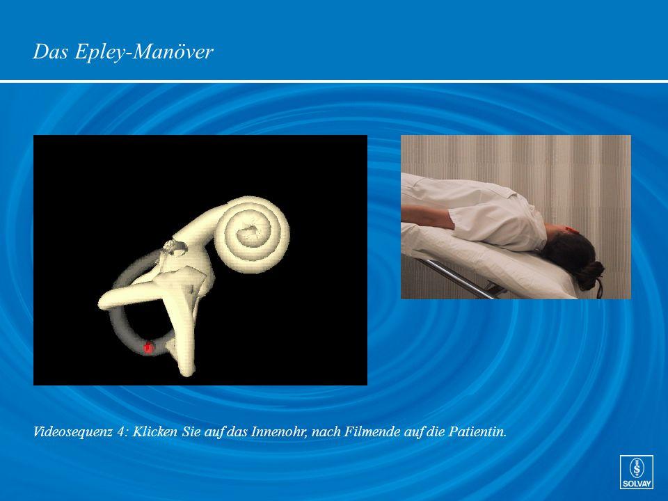 Das Epley-Manöver Videosequenz 4: Klicken Sie auf das Innenohr, nach Filmende auf die Patientin.