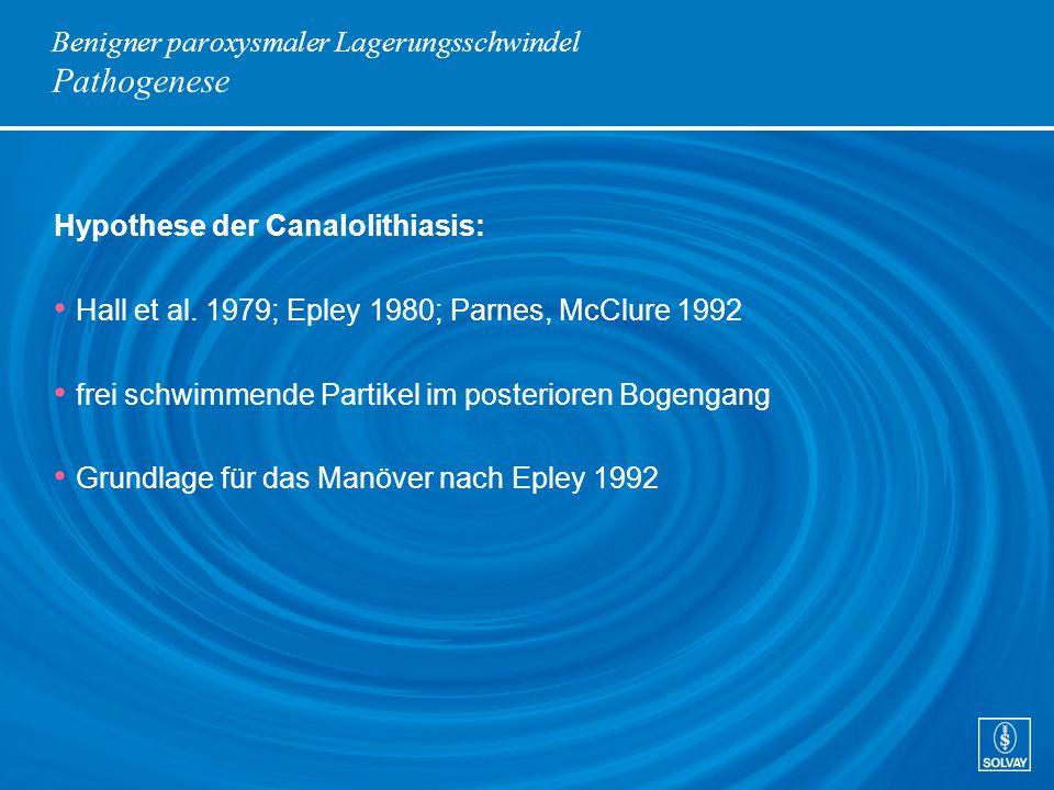 Benigner paroxysmaler Lagerungsschwindel Pathogenese Hypothese der Canalolithiasis: Hall et al. 1979; Epley 1980; Parnes, McClure 1992 frei schwimmend