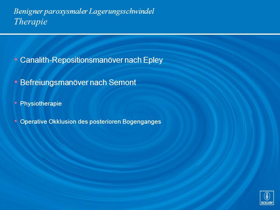 Benigner paroxysmaler Lagerungsschwindel Therapie Canalith-Repositionsmanöver nach Epley Befreiungsmanöver nach Semont Physiotherapie Operative Okklus