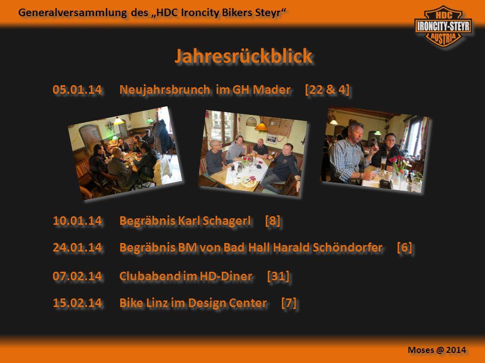 """Generalversammlung des """"HDC Ironcity Bikers Steyr"""" Moses @ 2014 05.01.14Neujahrsbrunch im GH Mader [22 & 4] Jahresrückblick 10.01.14Begräbnis Karl Sch"""