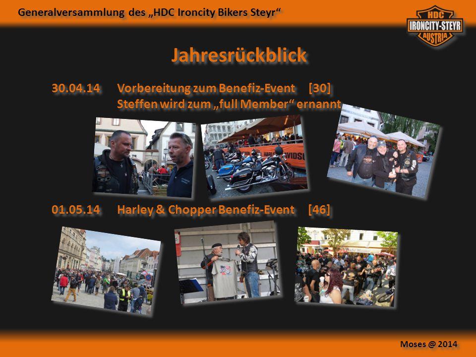 """Generalversammlung des """"HDC Ironcity Bikers Steyr"""" Moses @ 2014 Jahresrückblick 30.04.14Vorbereitung zum Benefiz-Event [30] Steffen wird zum """"full Mem"""