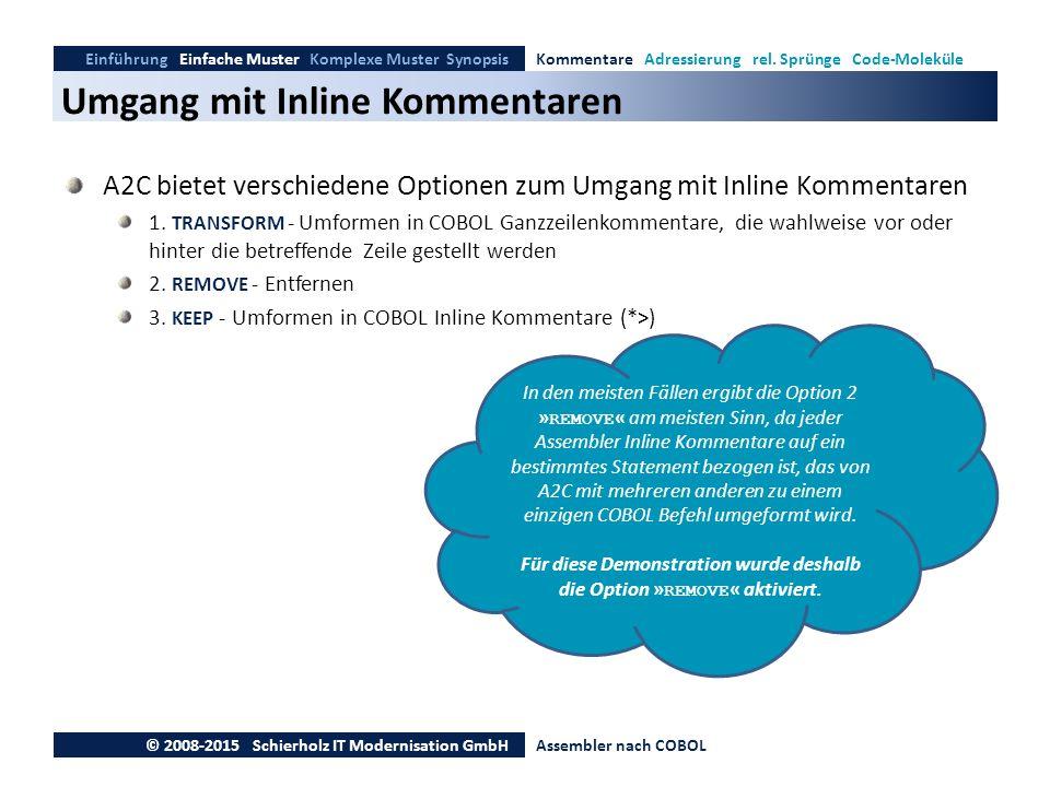 Umgang mit Inline Kommentaren Einführung Einfache Muster Komplexe Muster SynopsisKommentare Adressierung rel. Sprünge Code-Moleküle © 2008-2015 Schier