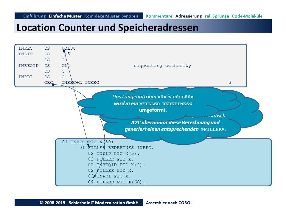 Location Counter und Speicheradressen Einführung Einfache Muster Komplexe Muster SynopsisKommentare Adressierung rel. Sprünge Code-Moleküle © 2008-201