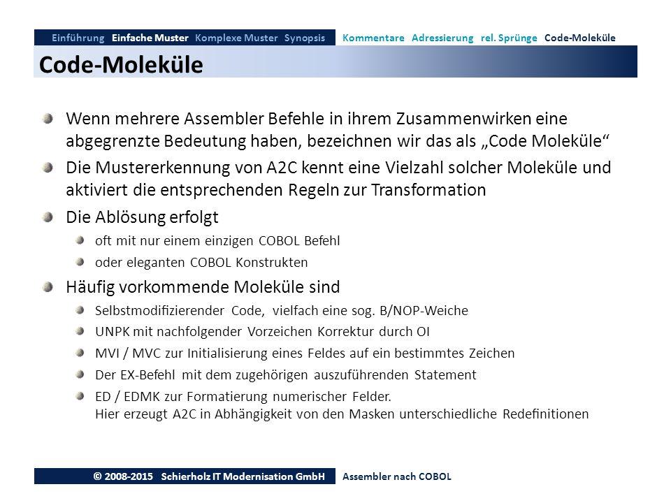 Code-Moleküle Einführung Einfache Muster Komplexe Muster SynopsisKommentare Adressierung rel. Sprünge Code-Moleküle © 2008-2015 Schierholz IT Modernis