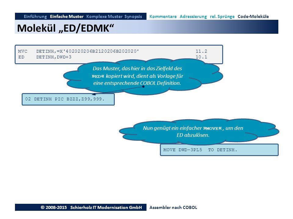 """Molekül """"ED/EDMK"""" Einführung Einfache Muster Komplexe Muster SynopsisKommentare Adressierung rel. Sprünge Code-Moleküle © 2008-2015 Schierholz IT Mode"""