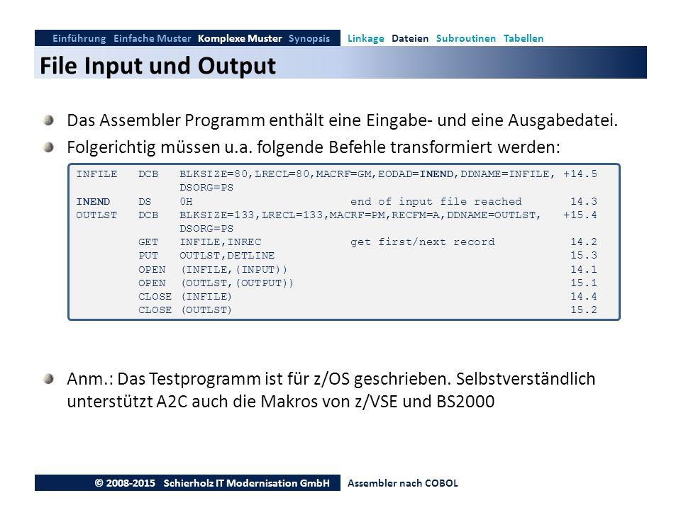 File Input und Output Einführung Einfache Muster Komplexe Muster SynopsisLinkage Dateien Subroutinen Tabellen © 2008-2015 Schierholz IT Modernisation