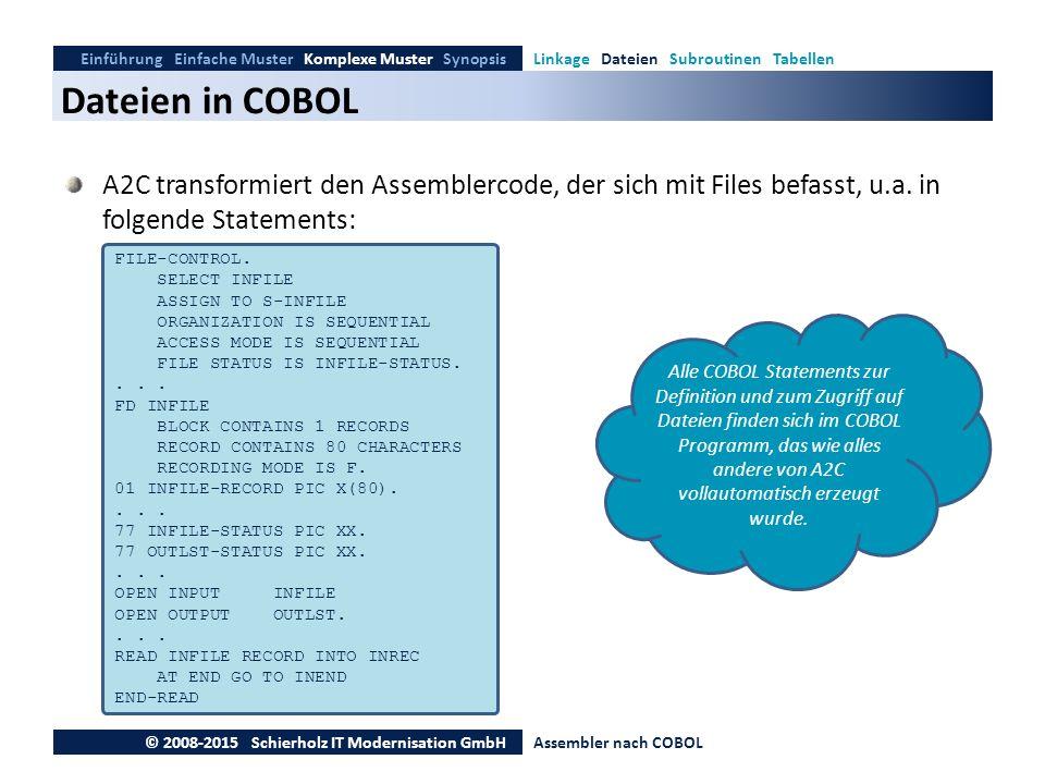 Dateien in COBOL Einführung Einfache Muster Komplexe Muster SynopsisLinkage Dateien Subroutinen Tabellen © 2008-2015 Schierholz IT Modernisation GmbHA