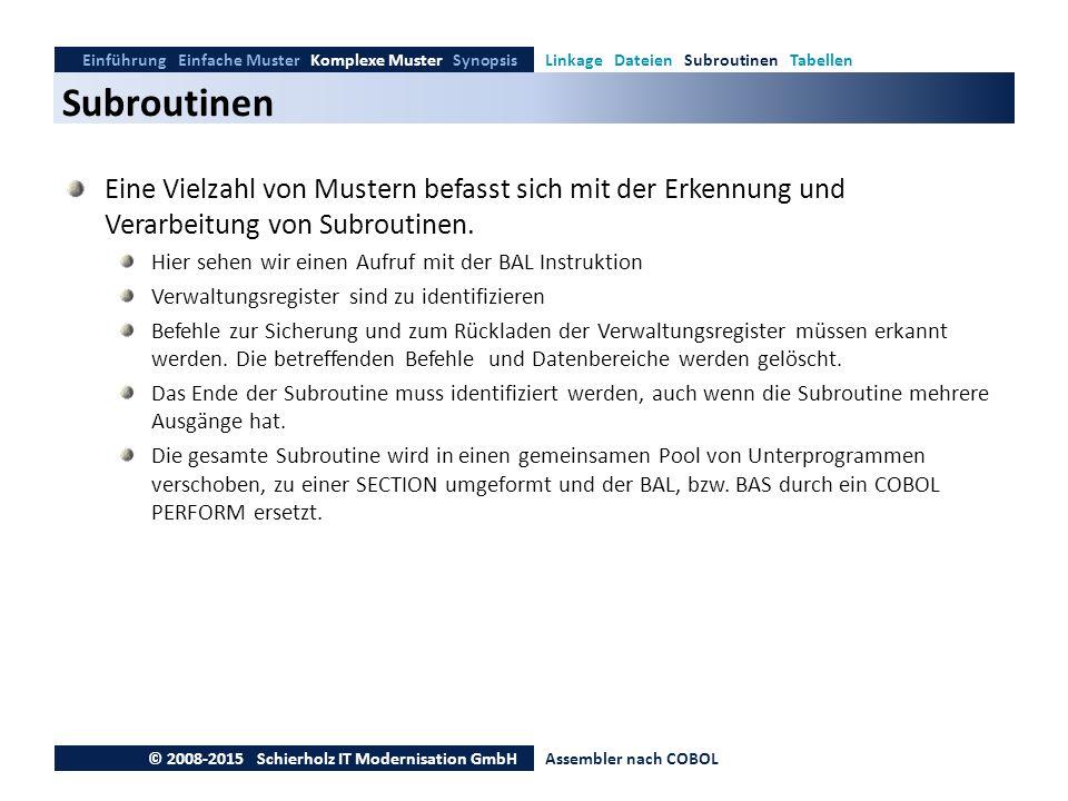 Subroutinen Einführung Einfache Muster Komplexe Muster SynopsisLinkage Dateien Subroutinen Tabellen © 2008-2015 Schierholz IT Modernisation GmbHAssemb
