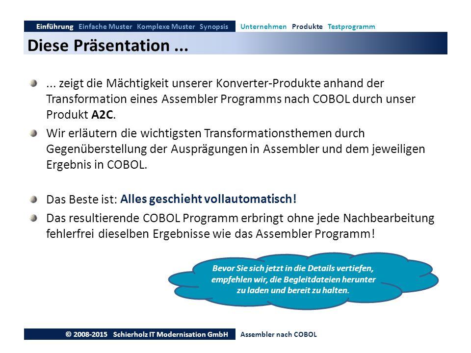 Diese Präsentation... Einführung Einfache Muster Komplexe Muster SynopsisUnternehmen Produkte Testprogramm © 2008-2015 Schierholz IT Modernisation Gmb