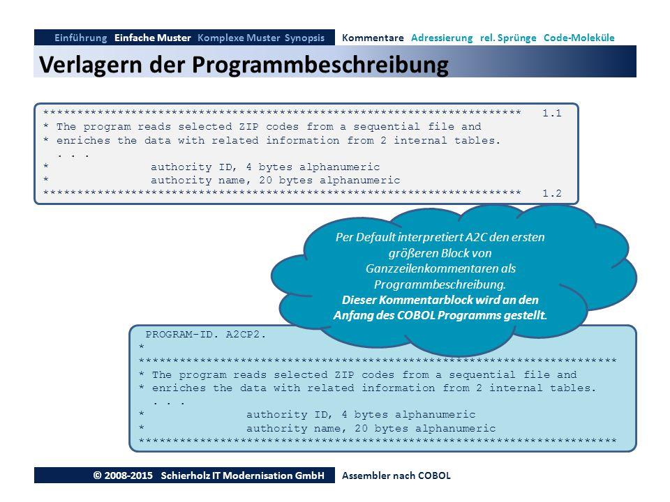 Verlagern der Programmbeschreibung Einführung Einfache Muster Komplexe Muster SynopsisKommentare Adressierung rel. Sprünge Code-Moleküle © 2008-2015 S