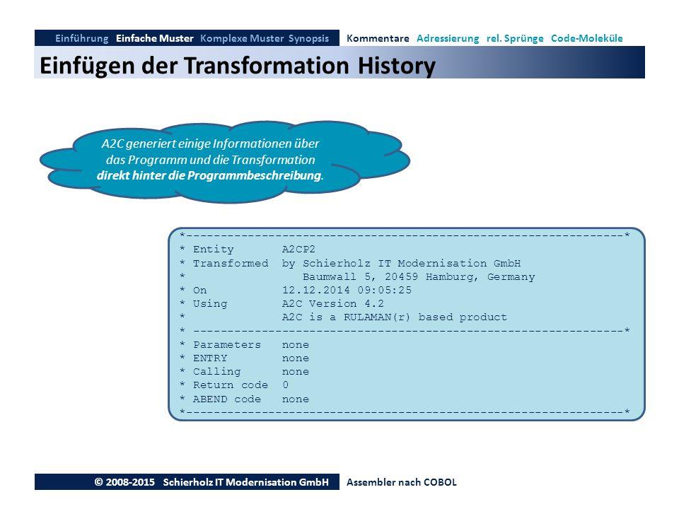 Einfügen der Transformation History Einführung Einfache Muster Komplexe Muster SynopsisKommentare Adressierung rel. Sprünge Code-Moleküle © 2008-2015
