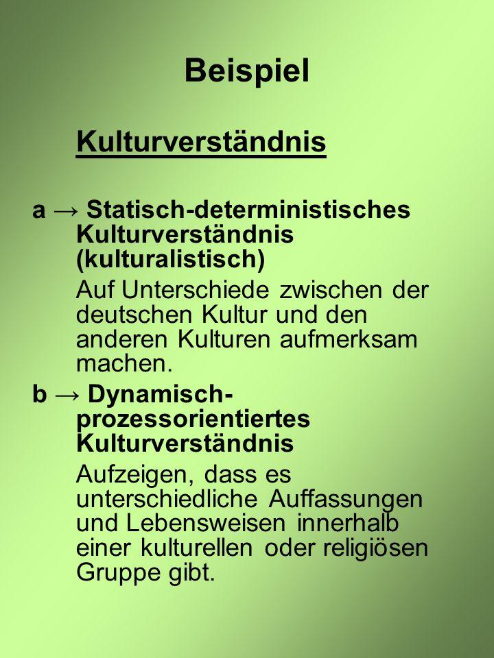 Beispiel Kulturverständnis a → Statisch-deterministisches Kulturverständnis (kulturalistisch) Auf Unterschiede zwischen der deutschen Kultur und den anderen Kulturen aufmerksam machen.