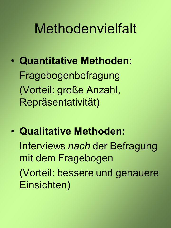 Methodenvielfalt Quantitative Methoden: Fragebogenbefragung (Vorteil: große Anzahl, Repräsentativität) Qualitative Methoden: Interviews nach der Befragung mit dem Fragebogen (Vorteil: bessere und genauere Einsichten)