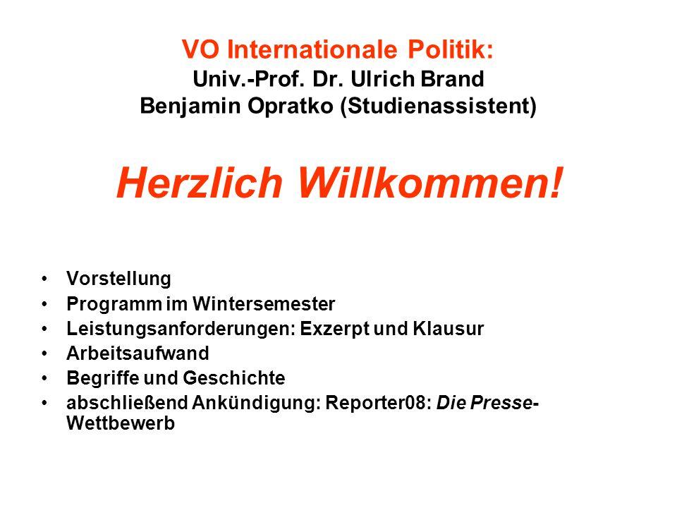 VO Internationale Politik: Univ.-Prof.Dr.