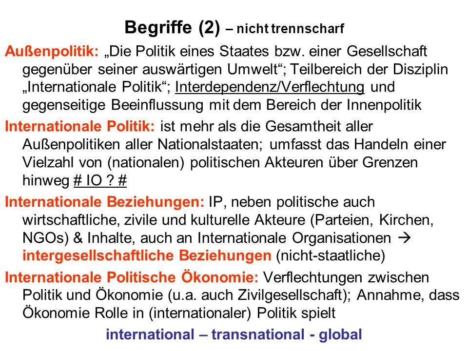 """Begriffe (2) – nicht trennscharf Außenpolitik: """"Die Politik eines Staates bzw."""