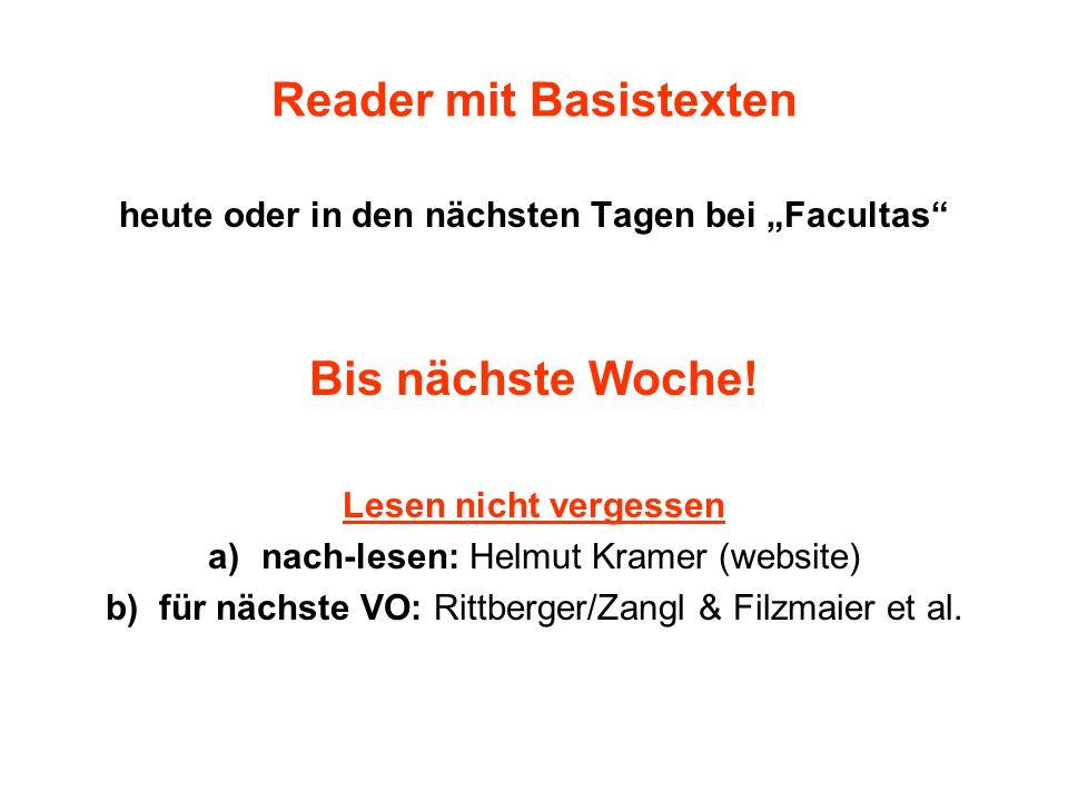 """Reader mit Basistexten heute oder in den nächsten Tagen bei """"Facultas Bis nächste Woche."""