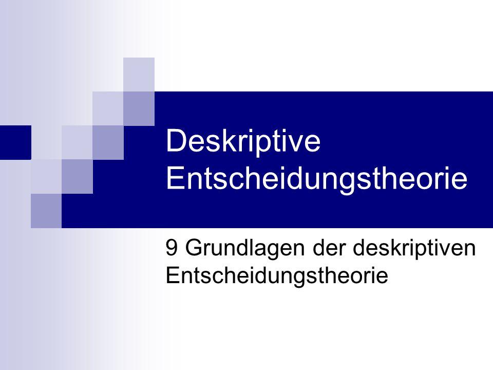Gliederung 9 Grundlagen der deskriptiven Entscheidungstheorie 9.1 Bedeutung und Merkmale der deskriptiven Entscheidungstheorie 9.2 Das Wissenschaftsideal der BWL und die Entscheidungstheorie 9.3 Mögliche Zusammenhänge zwischen präskriptiver und deskriptiver Entscheidungstheorie 9.4 Die verhaltenswissenschaftliche Entscheidungstheorie 9.5 Das Mülleimermodell der Entscheidung 9.6 Organisation und Entscheidung
