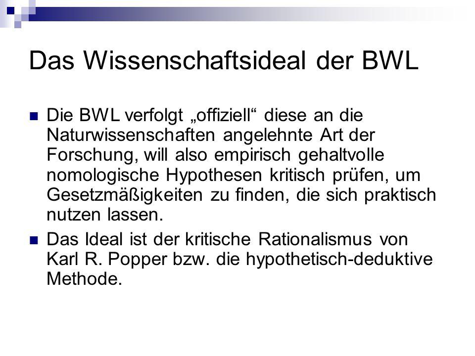 """Das Wissenschaftsideal der BWL Die BWL verfolgt """"offiziell"""" diese an die Naturwissenschaften angelehnte Art der Forschung, will also empirisch gehaltv"""