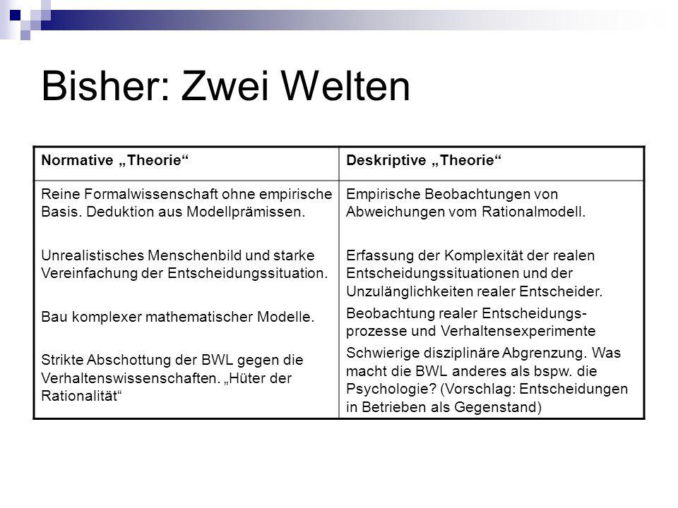 """Bisher: Zwei Welten Normative """"Theorie""""Deskriptive """"Theorie"""" Reine Formalwissenschaft ohne empirische Basis. Deduktion aus Modellprämissen. Unrealisti"""