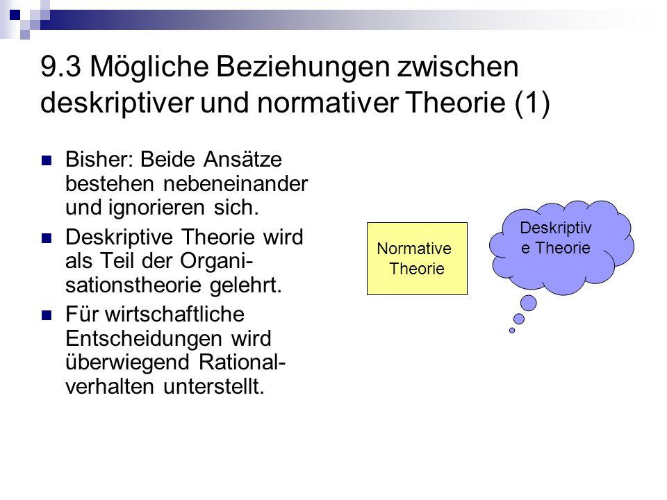 9.3 Mögliche Beziehungen zwischen deskriptiver und normativer Theorie (1) Bisher: Beide Ansätze bestehen nebeneinander und ignorieren sich. Deskriptiv