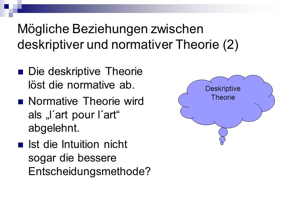 """Mögliche Beziehungen zwischen deskriptiver und normativer Theorie (2) Die deskriptive Theorie löst die normative ab. Normative Theorie wird als """"l´art"""