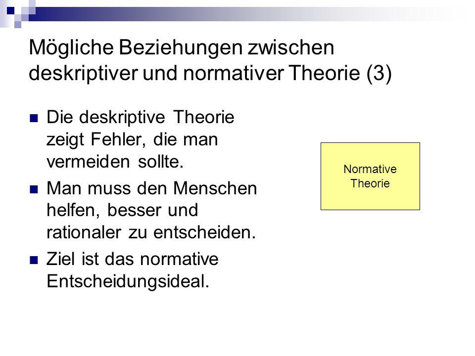 Mögliche Beziehungen zwischen deskriptiver und normativer Theorie (3) Die deskriptive Theorie zeigt Fehler, die man vermeiden sollte. Man muss den Men