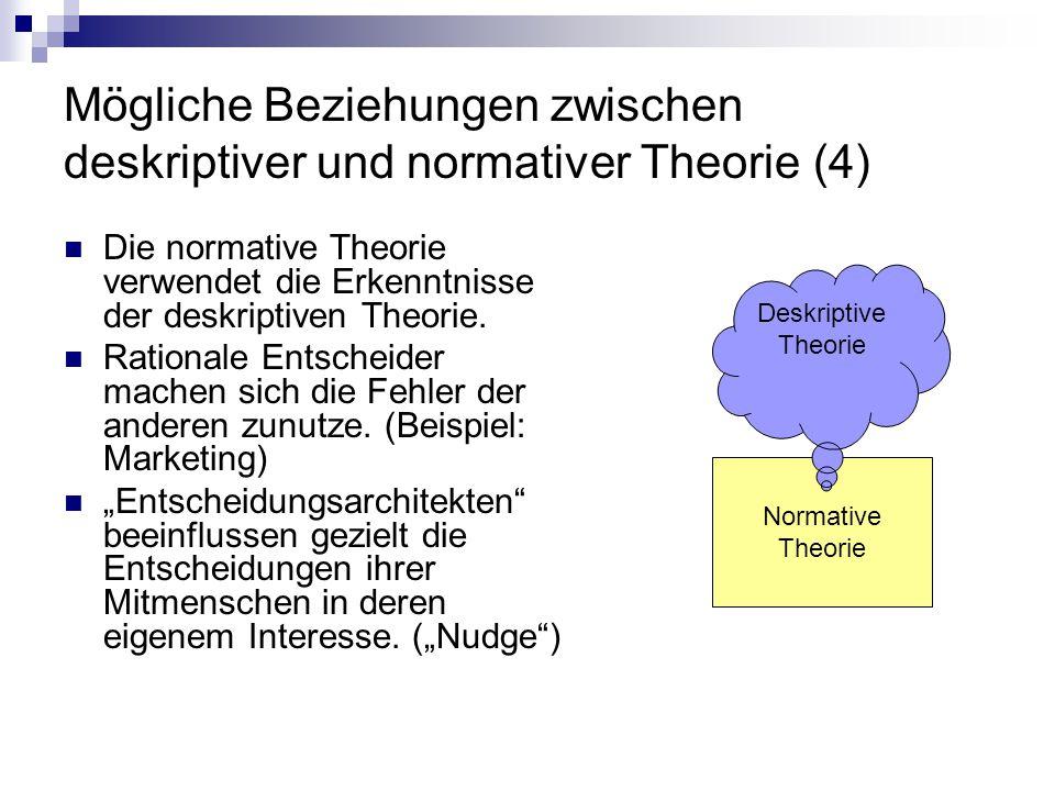 Mögliche Beziehungen zwischen deskriptiver und normativer Theorie (4) Die normative Theorie verwendet die Erkenntnisse der deskriptiven Theorie. Ratio