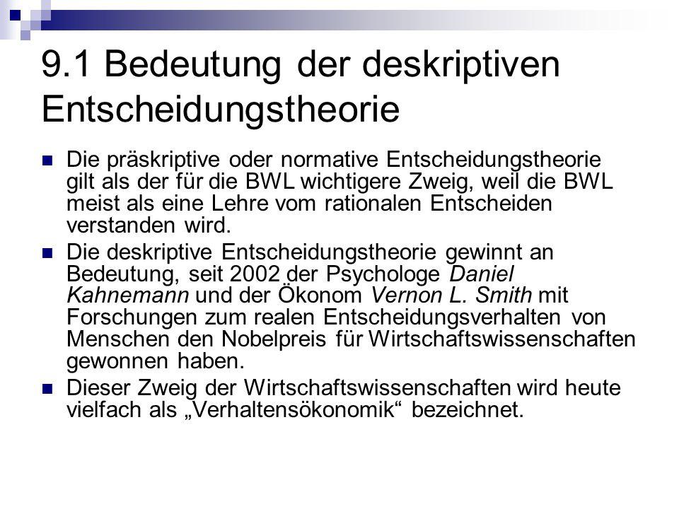 9.1 Bedeutung der deskriptiven Entscheidungstheorie Die präskriptive oder normative Entscheidungstheorie gilt als der für die BWL wichtigere Zweig, we