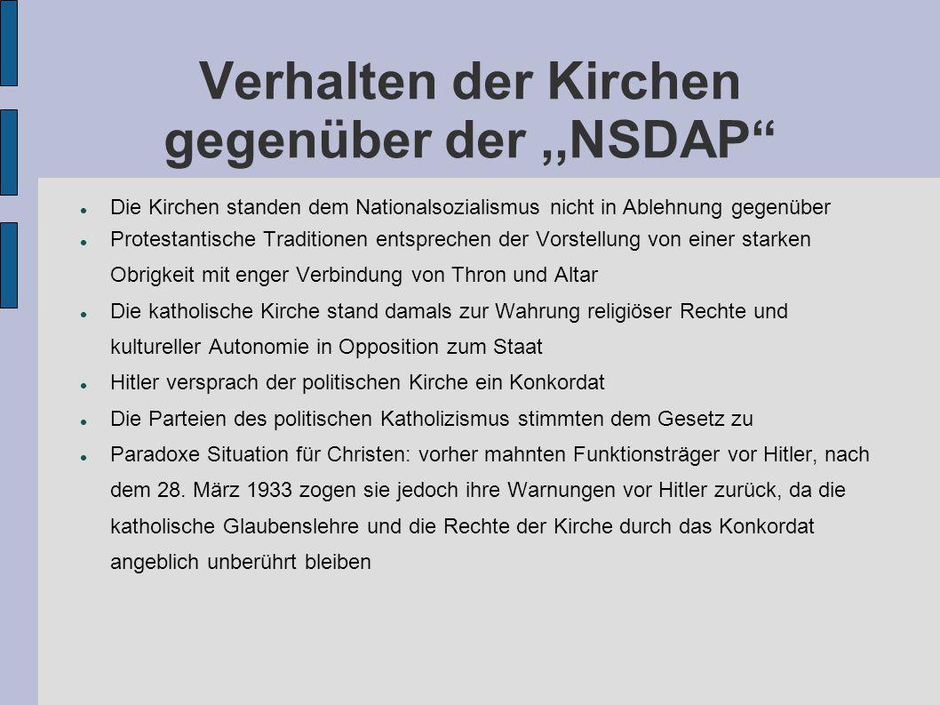 """Verhalten der Kirchen gegenüber der,,NSDAP"""" Die Kirchen standen dem Nationalsozialismus nicht in Ablehnung gegenüber Protestantische Traditionen entsp"""