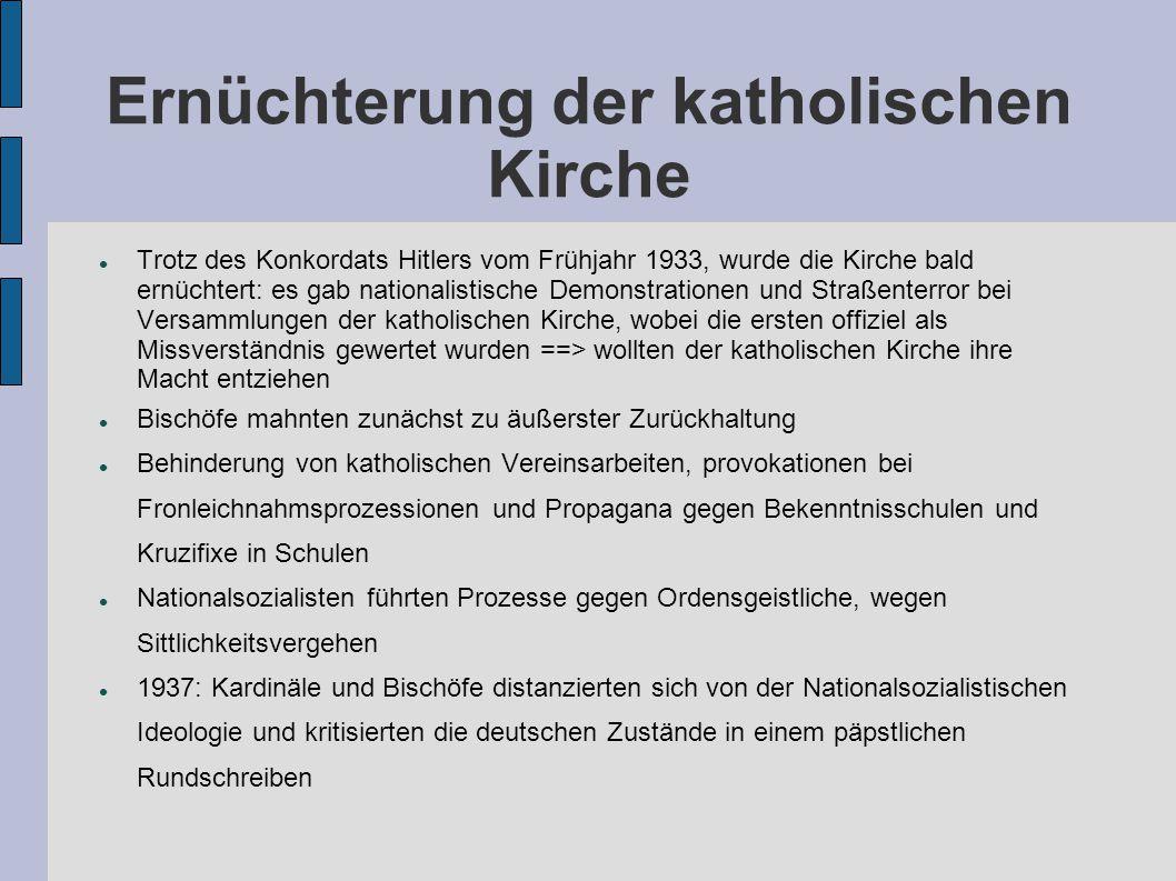 Ernüchterung der katholischen Kirche Trotz des Konkordats Hitlers vom Frühjahr 1933, wurde die Kirche bald ernüchtert: es gab nationalistische Demonst