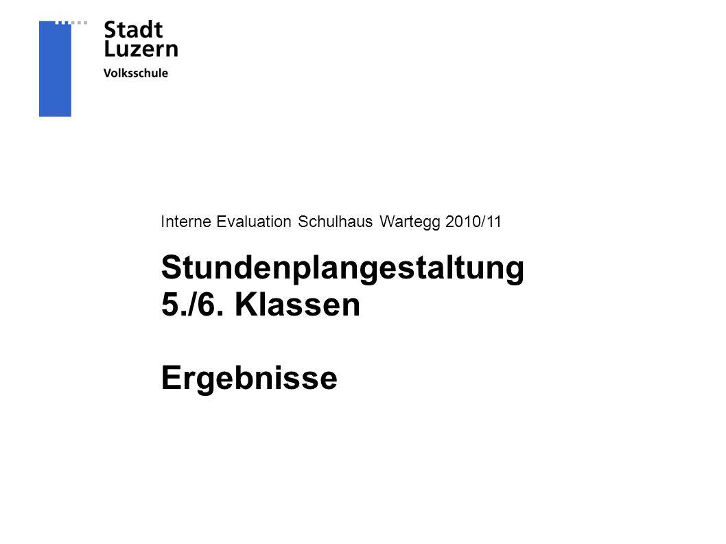 Interne Evaluation Schulhaus Wartegg 2010/11 Stundenplangestaltung 5./6. Klassen Ergebnisse