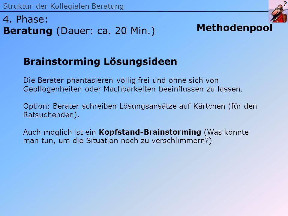 Struktur der Kollegialen Beratung 4. Phase: Beratung (Dauer: ca. 20 Min.) Methodenpool Brainstorming Lösungsideen Die Berater phantasieren völlig frei