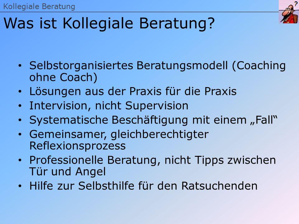 Selbstorganisiertes Beratungsmodell (Coaching ohne Coach) Lösungen aus der Praxis für die Praxis Intervision, nicht Supervision Systematische Beschäft
