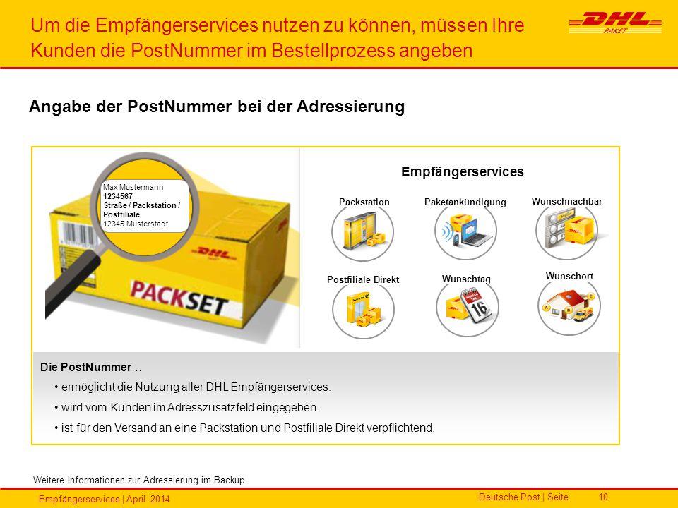 Empfängerservices | April 2014 Deutsche Post | Seite10 Um die Empfängerservices nutzen zu können, müssen Ihre Kunden die PostNummer im Bestellprozess