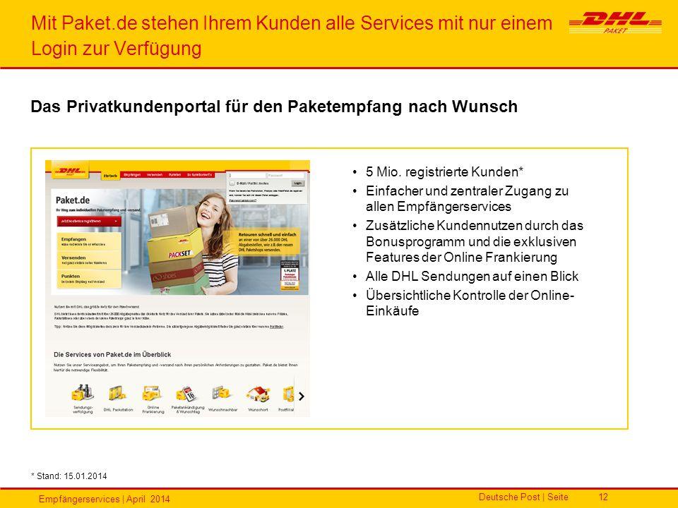 Empfängerservices | April 2014 Deutsche Post | Seite12 Mit Paket.de stehen Ihrem Kunden alle Services mit nur einem Login zur Verfügung * Stand: 15.01