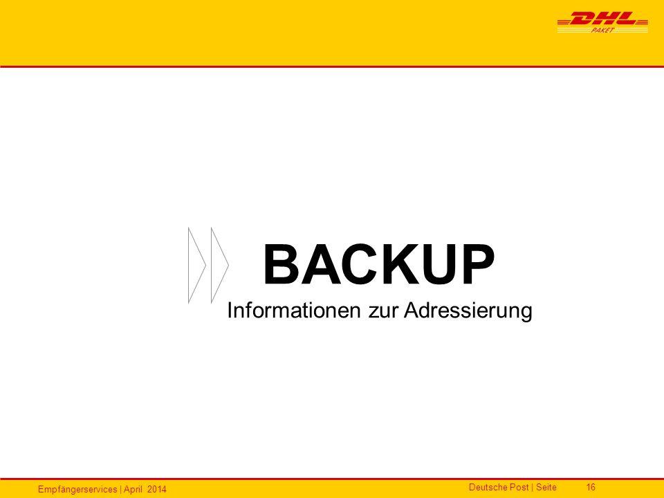 Empfängerservices | April 2014 Deutsche Post | Seite16 BACKUP Informationen zur Adressierung