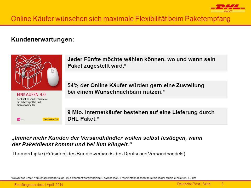 Empfängerservices | April 2014 Deutsche Post | Seite2 Kundenerwartungen: Online Käufer wünschen sich maximale Flexibilität beim Paketempfang *Download