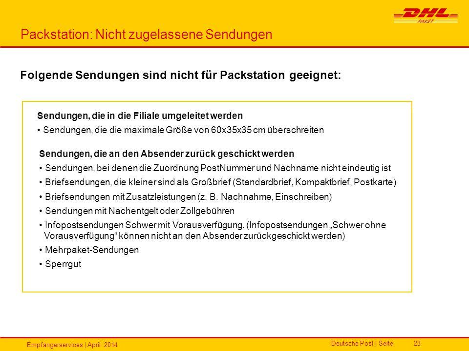 Empfängerservices | April 2014 Deutsche Post | Seite23 Packstation: Nicht zugelassene Sendungen Folgende Sendungen sind nicht für Packstation geeignet