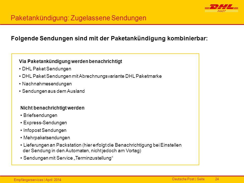 Empfängerservices | April 2014 Deutsche Post | Seite24 Paketankündigung: Zugelassene Sendungen Folgende Sendungen sind mit der Paketankündigung kombin