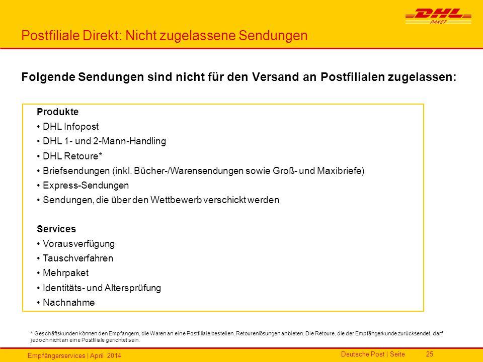 Empfängerservices | April 2014 Deutsche Post | Seite25 Postfiliale Direkt: Nicht zugelassene Sendungen Folgende Sendungen sind nicht für den Versand a