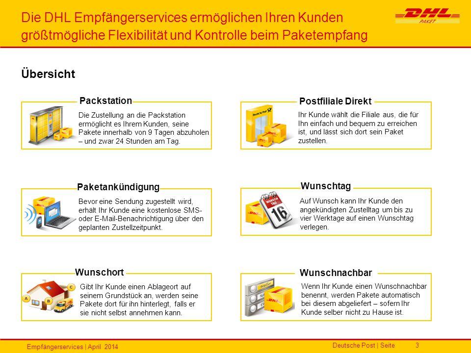 Empfängerservices | April 2014 Deutsche Post | Seite3 Die DHL Empfängerservices ermöglichen Ihren Kunden größtmögliche Flexibilität und Kontrolle beim