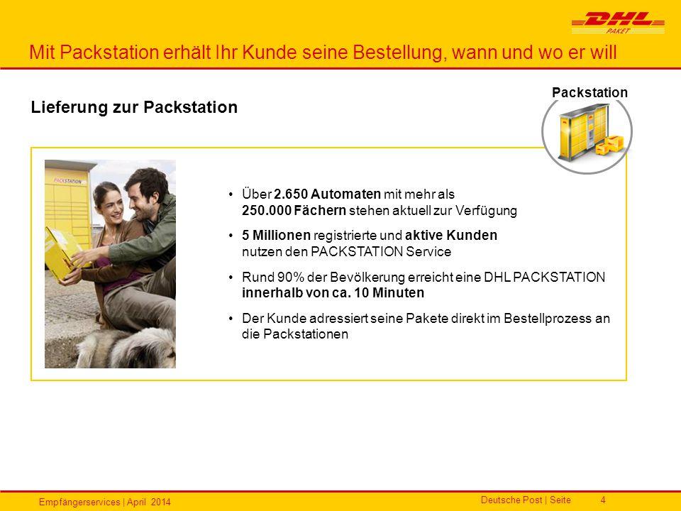 Empfängerservices | April 2014 Deutsche Post | Seite4 Über 2.650 Automaten mit mehr als 250.000 Fächern stehen aktuell zur Verfügung 5 Millionen regis