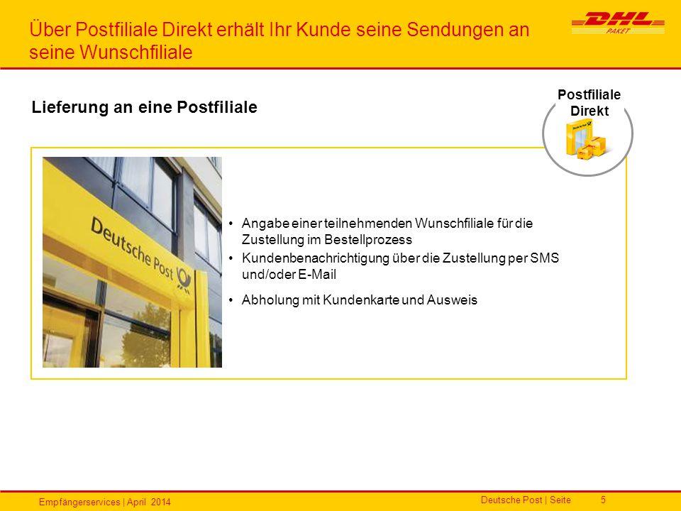Empfängerservices | April 2014 Deutsche Post | Seite5 Angabe einer teilnehmenden Wunschfiliale für die Zustellung im Bestellprozess Kundenbenachrichti