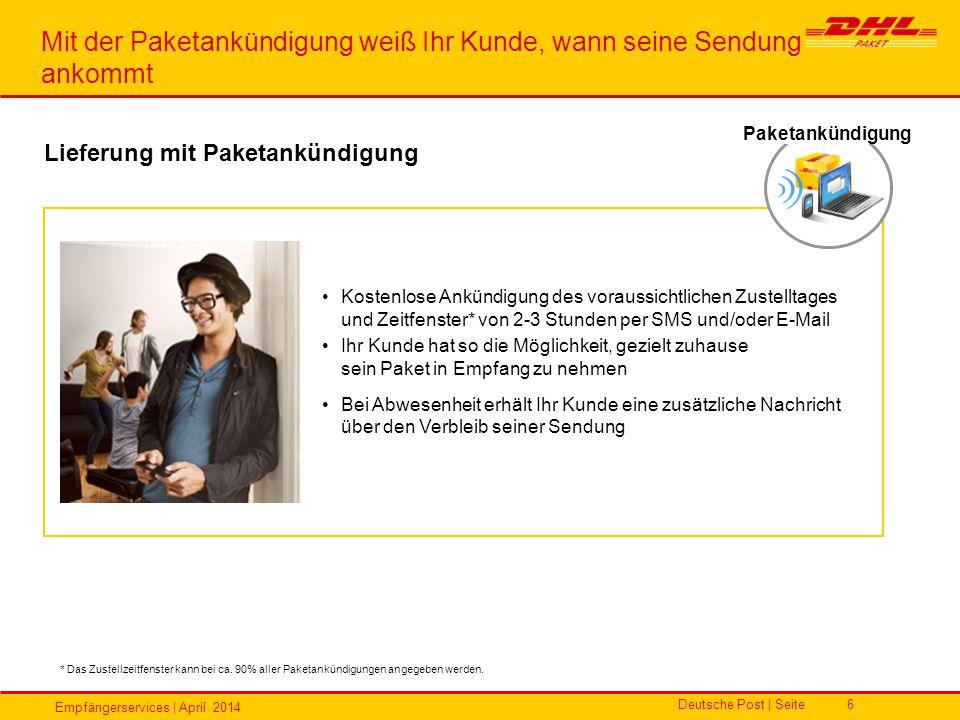 Empfängerservices | April 2014 Deutsche Post | Seite6 Kostenlose Ankündigung des voraussichtlichen Zustelltages und Zeitfenster* von 2-3 Stunden per S